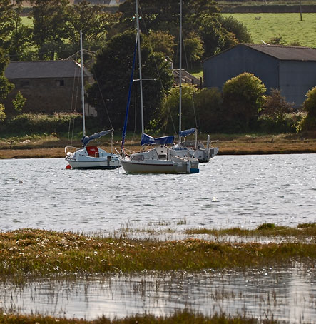 Boats sitting in the Estuary at High Tide