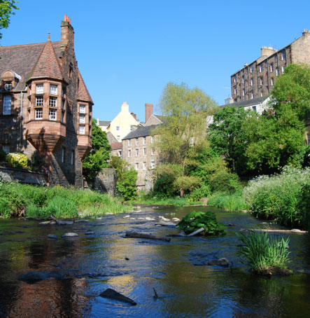 The Water of Leith flows past the Apartment